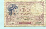 5 Francs 1939 Frankreich,  IV  703 руб 9,50 EUR  +  518 руб shipping