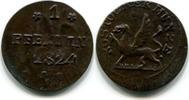 1 Pfennig 1824 Rostock,  ss  29,50 EUR  zzgl. 5,00 EUR Versand