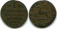 1 Pfennig 1829C.v.C. Braunschweig, Herzog Karl 1815-1830, ss/vz  40,00 EUR  zzgl. 5,00 EUR Versand