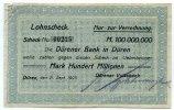 100 Millionen Mark 1923 Deutschland ~ Düren / Lohnscheck der Dürener Ba... 195,00 EUR175,50 EUR