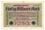 50 Mio. Mark 1923 Deutsches Reich / Inflation ~ Reichsbankdirektorium B... 75,00 EUR  zzgl. 5,00 EUR Versand