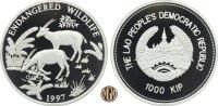 1000 Kip 1997 LAOS. Bedrohte Tierwelt, Langhornbüffel. PP  45,00 EUR  zzgl. 5,00 EUR Versand