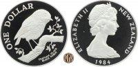 1 Dollar 1984 NEUSEELAND. Neuseeländische Vogelwelt, Schwarzer Rubinvog... 40,00 EUR  zzgl. 5,00 EUR Versand