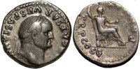 Roman denarius Vespasian AR denarius emperor seated right