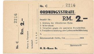 2 RM 1944 POLAND / POLEN / Litzmannstadt Ordnungsstrafe,  GETTO, VERY RAERE UNC-