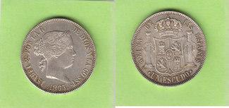 Escudo 1865 Spanien Prachtexemplar fast Stempelglanz
