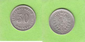 50 Pfennig 1875 E Kaiserreich sehr selten ...