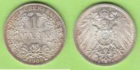 1 Mark 1909 A Kaiserreich Prachtexemplar fast st/st  27,50 EUR  zzgl. 1,50 EUR Versand