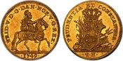 1749-VH DENMARK Frederik V Gold Ducat NGC MS61