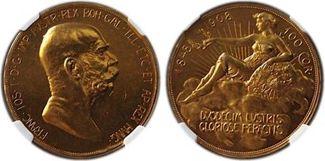 1908 Austria Franz Joseph I Gold 100 Corona NGC MS61