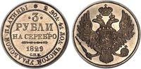 1829 RUSSIA NICHOLAS I PLATINUM 3 ROUBLES...