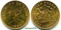 100 Pesos 1954 Chile Chile - 100 Pesos - 1954 f. Stg  734,00 EUR  Excl. 17,00 EUR Verzending