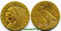 5 Dollars 1908 USA USA - 5 Dollars - 1908 ss+  /  vz  500,00 EUR  Excl. 17,00 EUR Verzending