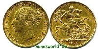 1 Sovereign 1876 Australien Australien - 1 Sovereign - 1876 ss  /  vz  443.91 US$ 388,00 EUR  +  36.61 US$ shipping