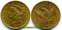 5 Dollars 1906 USA USA - 5 Dollars - 1906 vz  394,00 EUR  zzgl. 6,00 EUR Versand
