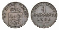 Brandenburg-Preuen Cu 4 Pfennig Friedrich Wilhelm IV. 1840-1861