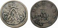 Cu 1/4 Stüber 1751 Wied-Neuwied Johann Friedrich Alexander 1737-1791 Se... 88,00 EUR  zzgl. 5,00 EUR Versand