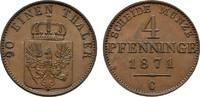 Cu 4 Pfennig 1871 C Brandenburg-Preußen Wilhelm I. 1861-1888 Vorzüglich  27,00 EUR  zzgl. 3,00 EUR Versand