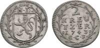 2 Kreuzer 1743 GCF Hessen-Darmstadt Ludwig VIII. 1739-1768 Sehr schön  18,00 EUR  zzgl. 3,00 EUR Versand