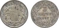 3 Kreuzer 1847 Baden-Durlach Leopold 1830-1852 Sehr schön  9,00 EUR  zzgl. 3,00 EUR Versand