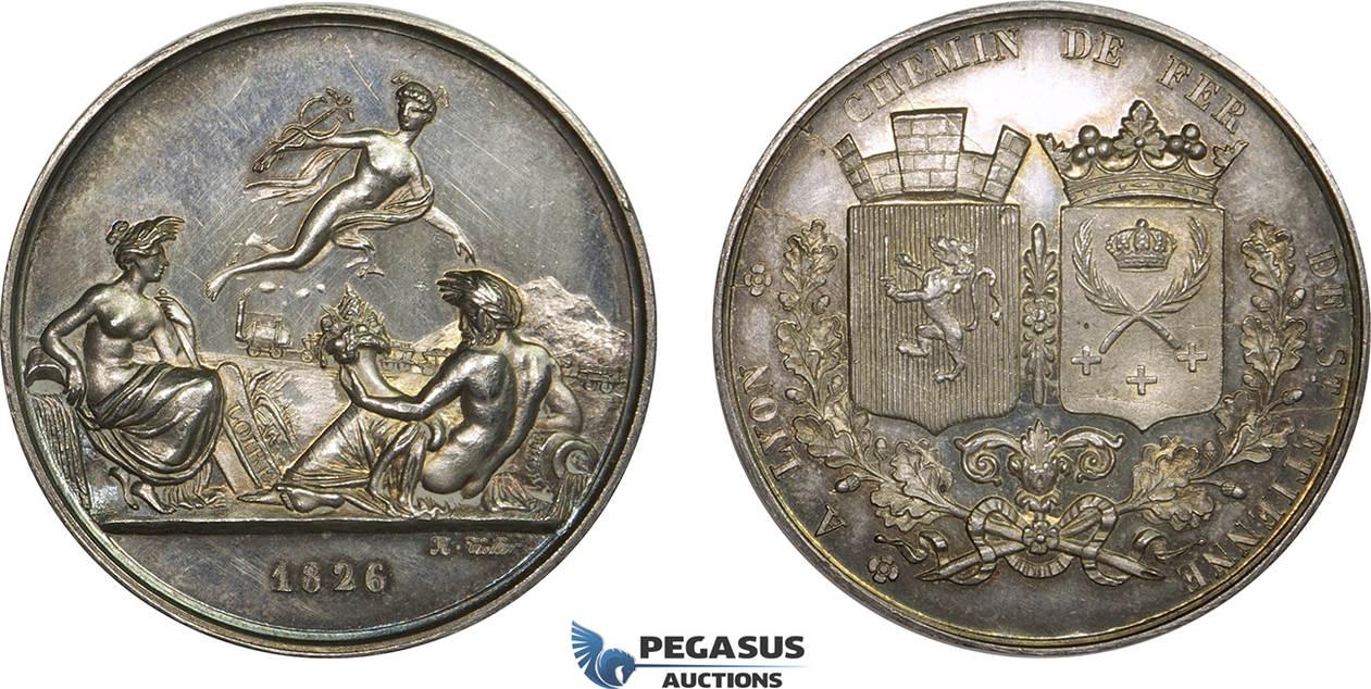 silver medal 1826 france lyon st etienne railroad train nude art unz ma shops. Black Bedroom Furniture Sets. Home Design Ideas