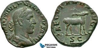 Æ Sestertius 248 AD Roman Empire Philip I, Commemorating the 1000th anniversary of Rome, Stag ss