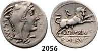 Roman Republic AR Denarius 105 BC ss L. Thorius Balbus, Bull charging 139,00 EUR  zzgl. 15,00 EUR Versand