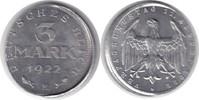3 Mark 1922 Weimarer Republik 3 Mark 1922 E Dezentriert vorzüglich - St... 95,00 EUR  zzgl. 4,00 EUR Versand
