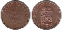 3 Pfennig 1870 A Schwarzburg-Sondershausen Günther Friedrich Karl II. 1... 295,00 EUR  zzgl. 4,00 EUR Versand