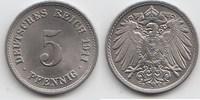 5 Pfennig 1911 F Kaiserreich  Fast Stempelglanz / Stempelglanz  20,00 EUR  zzgl. 4,00 EUR Versand