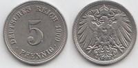 5 Pfennig 1900 A Kaiserreich  Vorzüglich-Stempelglanz  12,00 EUR  zzgl. 4,00 EUR Versand
