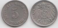 5 Pfennig 1902 F Kaiserreich  Vorzüglich-Stempelglanz  24,00 EUR  zzgl. 4,00 EUR Versand
