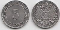 5 Pfennig 1906 E Kaiserreich  Fast Stempelglanz  38,00 EUR  zzgl. 4,00 EUR Versand