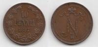 10 Pennia 1897 Finnland Nikolaus II. von Russland 1894-1917 vorzüglich  80,00 EUR  zzgl. 4,00 EUR Versand