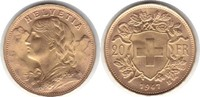20 Franken 1947 Schweiz, Eidgenossenschaft B Gold. fast Stempelglanz  255,00 EUR  zzgl. 4,00 EUR Versand