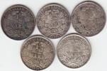 1/2 Mark 1914-1918 Kleinmünzen D (5 Stück) fast Stempelglanz  75,00 EUR  zzgl. 4,00 EUR Versand