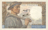 1942-11-26 BANKNOTEN DER BANQUE DE FRANCE Banque de France. Billet. 10... 15,00 EUR  zzgl. 7,00 EUR Versand