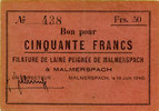 FRENCH EMERGENCY NOTES   R ! R ! R ! ss+ Malmerspach (68), Filature de l... 120,00 EUR