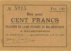 18.6.1940 FRANZÖSISCHE NOTSCHEINE Malmerspach (68). Filature de laine ... 20,00 EUR  zzgl. 7,00 EUR Versand