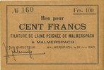 18.6.1940 FRANZÖSISCHE NOTSCHEINE Malmerspach (68). Filature de laine ... 60,00 EUR  zzgl. 7,00 EUR Versand