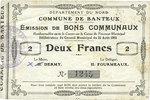 22.8.1915 FRANZÖSISCHE NOTSCHEINE Banteux (59). Commune. Billet. 2 fra... 12,00 EUR  zzgl. 7,00 EUR Versand