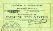 19.6.1915 FRANZÖSISCHE NOTSCHEINE Beaurevoir (02). Commune. Billet. 2 ... 8,00 EUR  zzgl. 7,00 EUR Versand