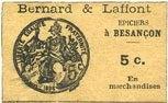 FRANZÖSISCHE NOTSCHEINE Besançon (25). Bernard & Laffont, épicerie. B... 100,00 EUR  zzgl. 7,00 EUR Versand