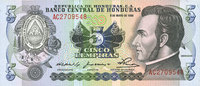 8.5.1980 ANDERE AUSLÄNDISCHE SCHEINE Honduras. Billet. 5 lempiras 8.5.... 10,00 EUR  zzgl. 7,00 EUR Versand