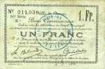 1914-10-15 FRANZÖSISCHE NOTSCHEINE Douai (59). Ville. Billet. 1 franc ... 3,00 EUR  zzgl. 7,00 EUR Versand