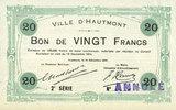 1914-12-14 FRANZÖSISCHE NOTSCHEINE Hautmont (59). Ville. Billet. 20 fr... 150,00 EUR  zzgl. 7,00 EUR Versand