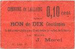FRANZÖSISCHE NOTSCHEINE Lallaing (59). Commune. Billet. 10 centimes s... 28,00 EUR  zzgl. 7,00 EUR Versand