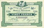 FRANZÖSISCHE NOTSCHEINE Lannoy (59). Ville. Billet. 20 francs, 3e sér... 120,00 EUR