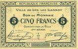 FRANZÖSISCHE NOTSCHEINE Lys-Lez-Lannoy (59). Ville. Billet. 5 francs,... 120,00 EUR