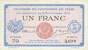9.9.1915 FRANZÖSISCHE NOTSCHEINE Lyon (69). Chambre de Commerce. Bille... 3,00 EUR  zzgl. 8,00 EUR Versand